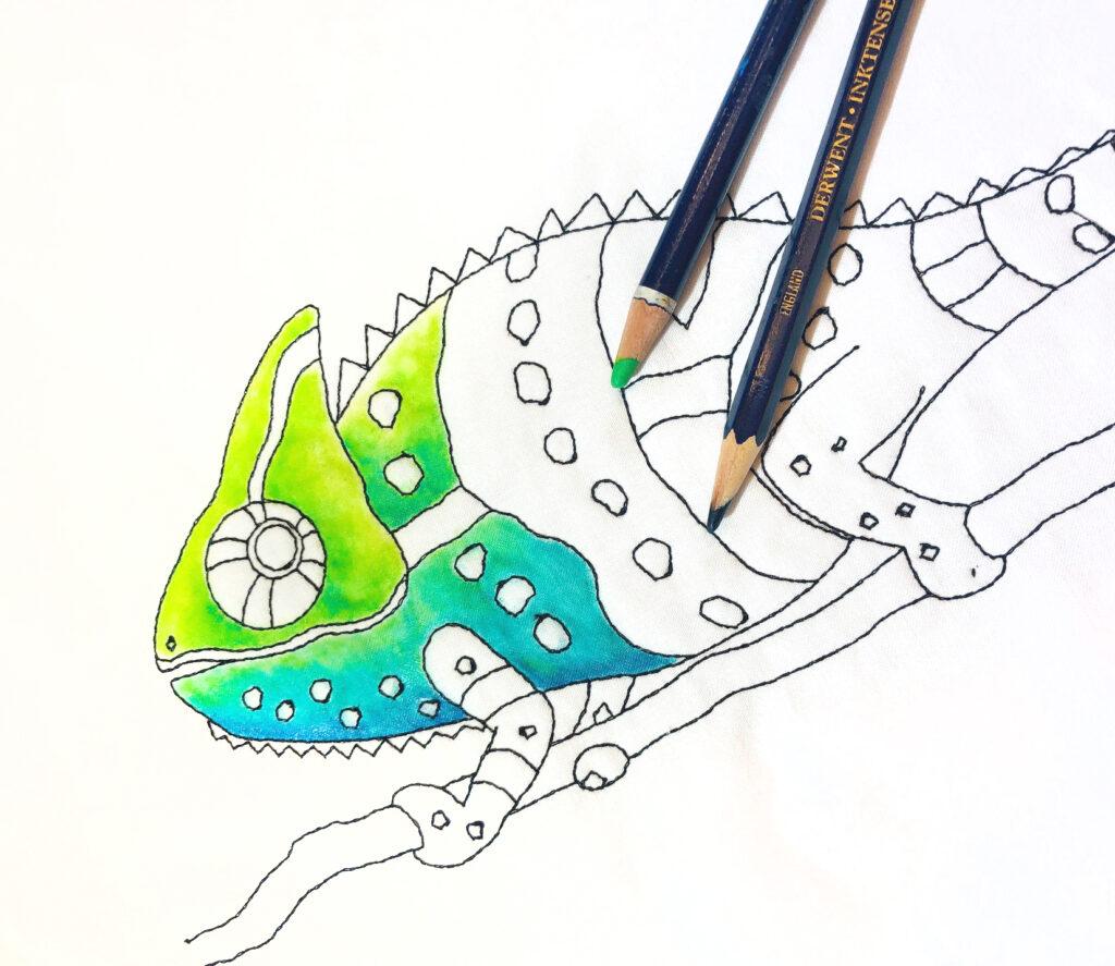 Chameleon quilt artwork