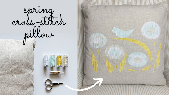 spring cross-stitch pillow