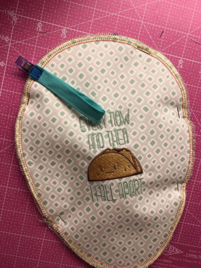 attach hanging loop to potholder
