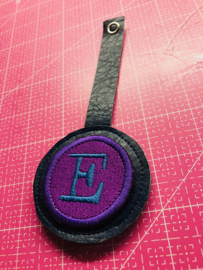 finished bag tag from faux leather