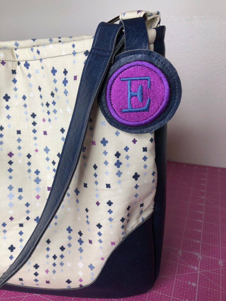 finished faux leather bag with tag