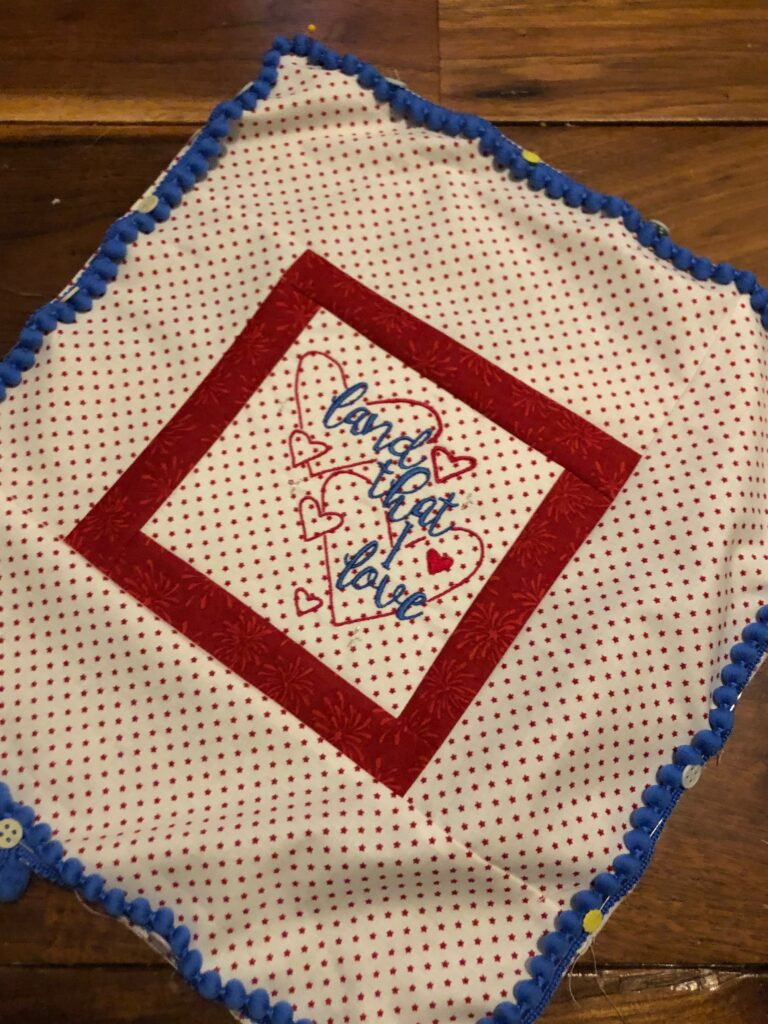 pinned patriotic pillow top