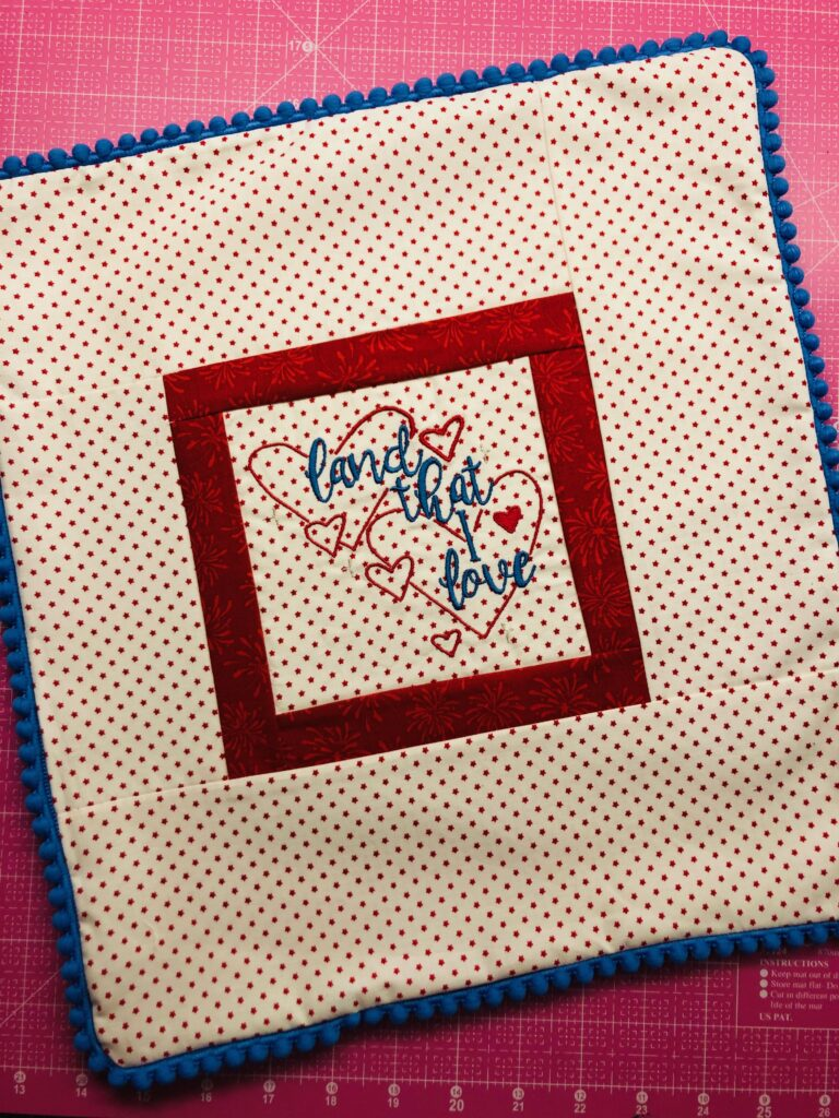finished patriotic pillow without stuffing