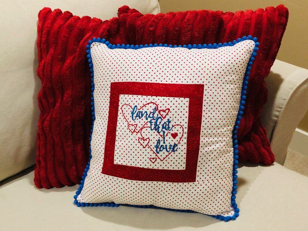 patriotic pillow finished