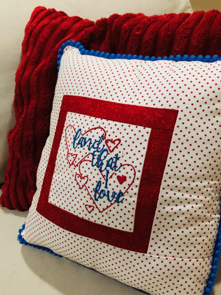 finished patriotic pillow from side