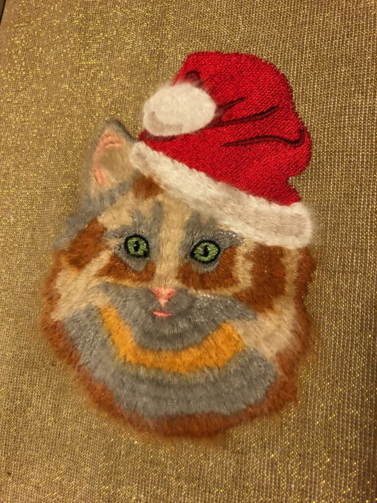 fur cat embroidery design