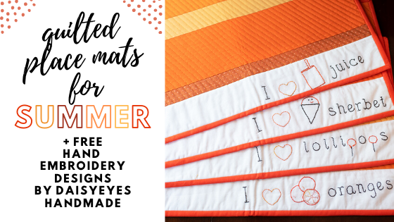 orange you glad placemats - free hand embroidery patterns