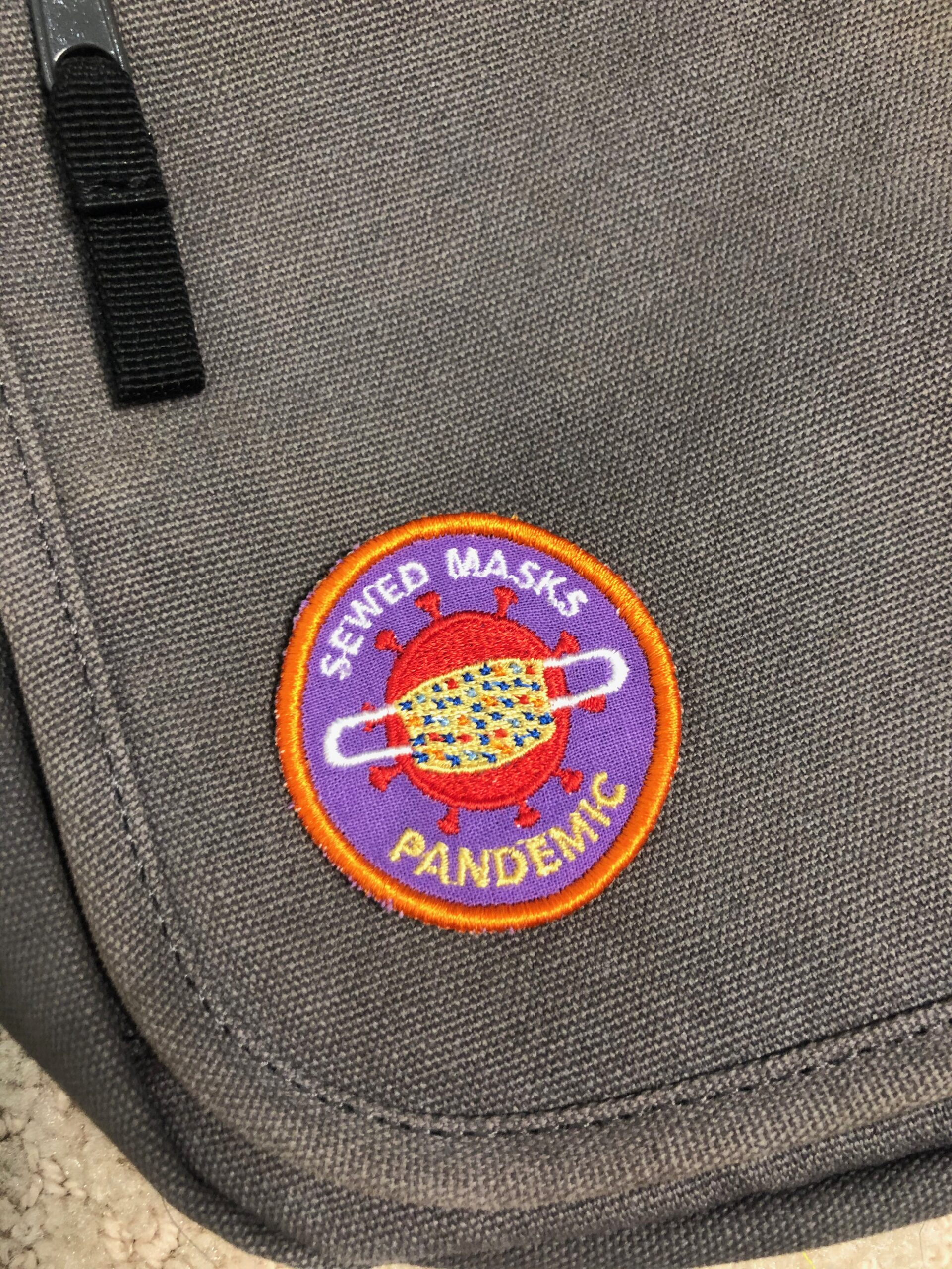 pandemic patch on tote bag