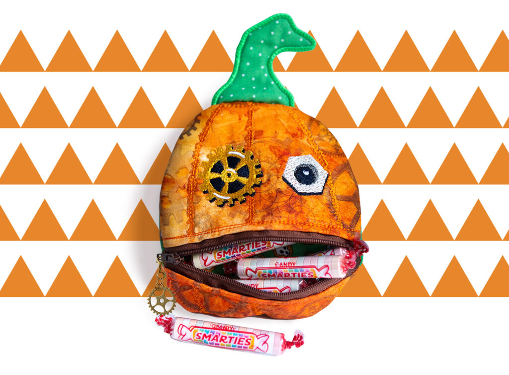 Finished Steampunk Pumpkin Pouch