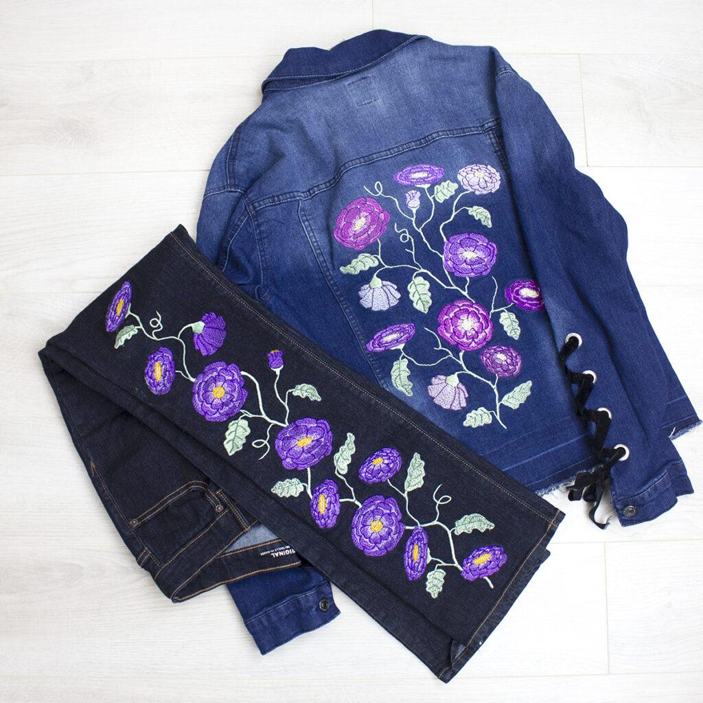 machine embroidery denim embellishment
