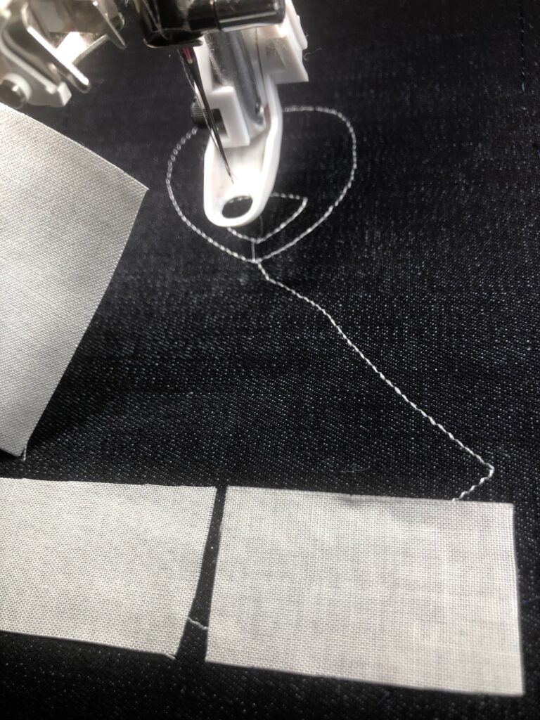 begin embroidering on stocking