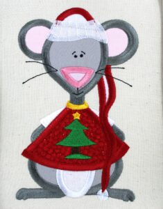 Embroidery for Christmas Stocking Mouse