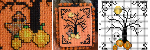 cross-stitch pumpkin project