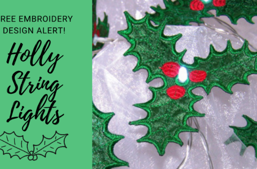 free machine embroidery design holly lights
