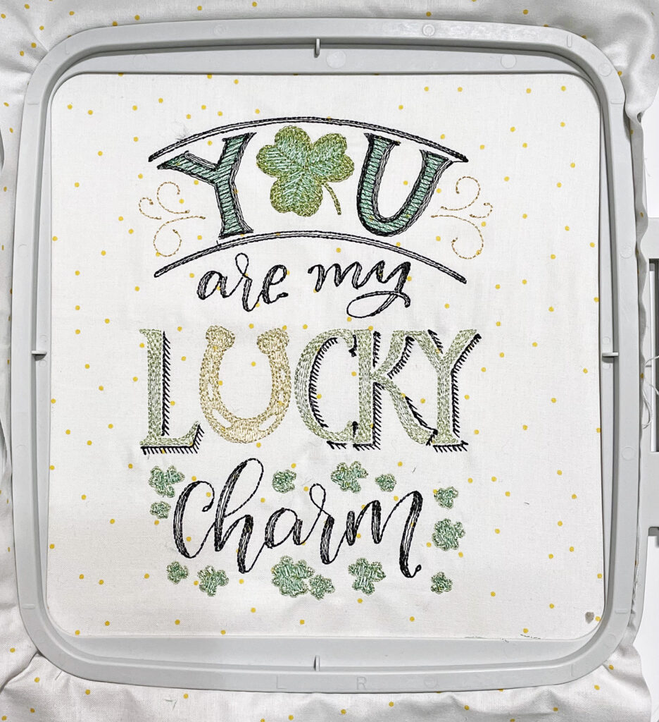 St. patrick's Day Mini Quilt with machine embroidery