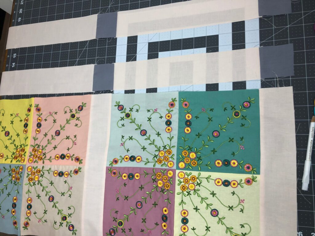 add border strips to Mother's Day Table Runner