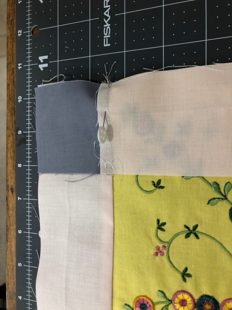 pinning strips before sewing