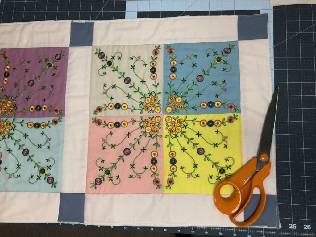 quilting is finished on table runner
