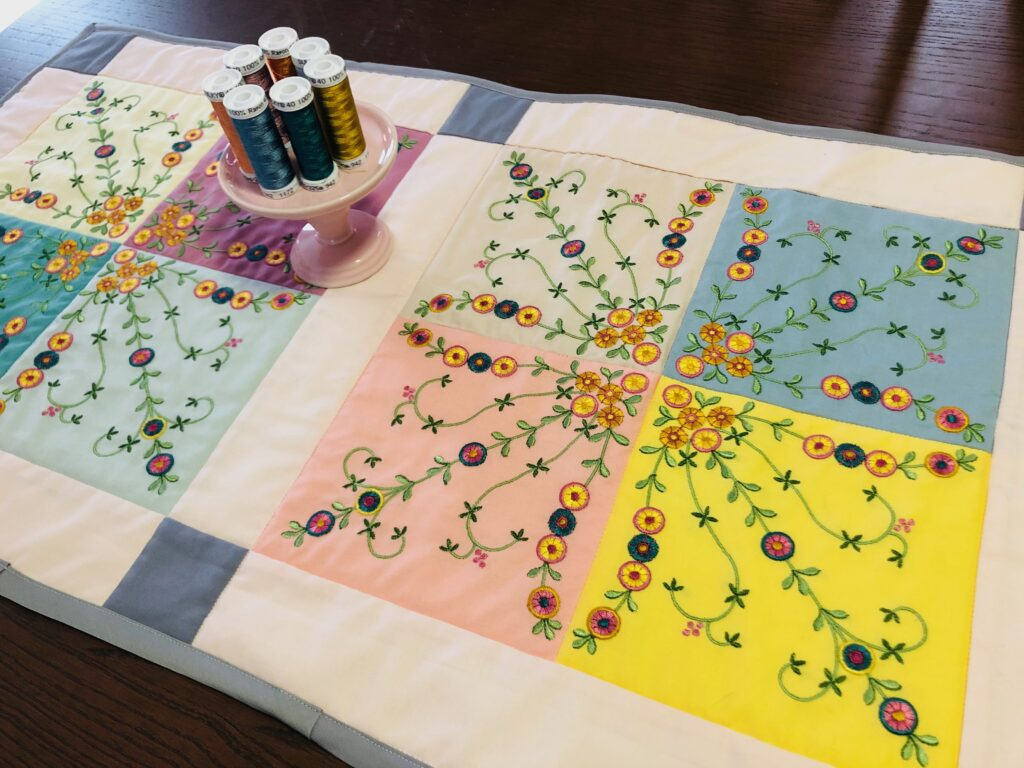 finished table runner on table