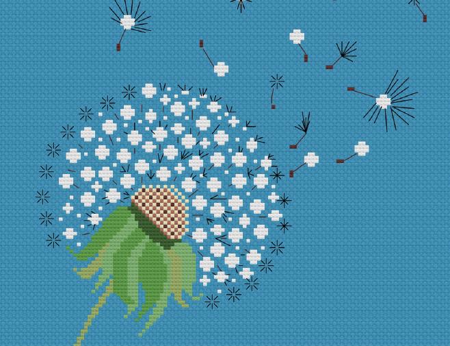 Dandelion cross-stitch design