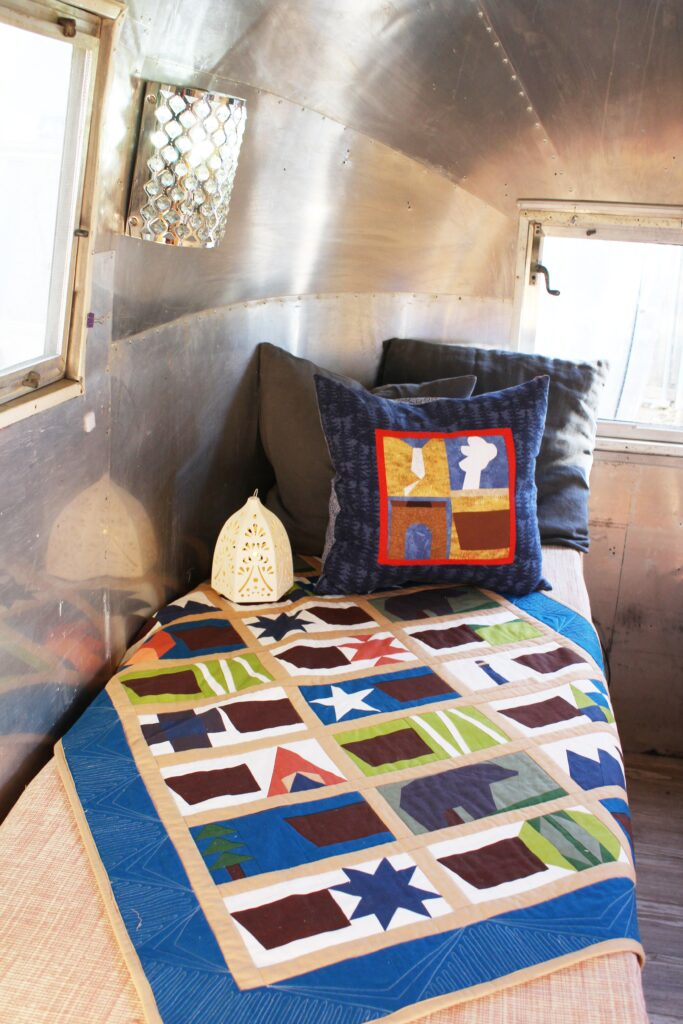 road trip quilt in airstream