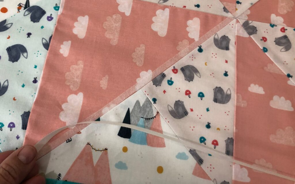 stabilizer strips applied to quilt