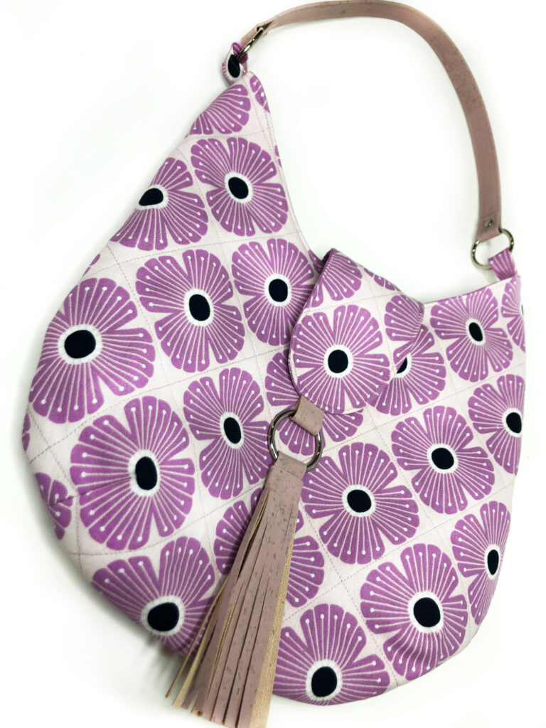 sulky plums and purples floral scarlett bag - sallie tomato pattern