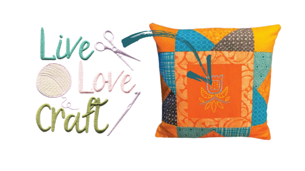 Live Love Craft embroidery design on pillow
